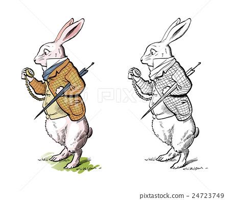 蜜蜂故事:童话素材插图兔子勤劳的小儿童美术反思图片