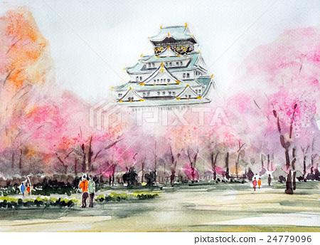 春 插图 水彩画 城堡 建筑 首页 插图 风景_自然 季节 春 水彩画 城堡