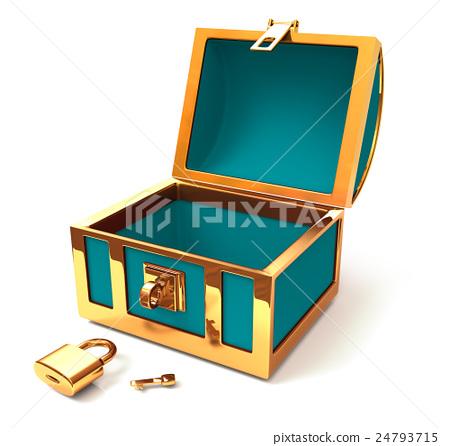 图库插图: 百宝箱 三维 钥匙