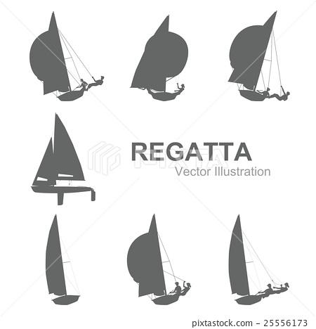 图库插图: 矢量图 游艇 航海