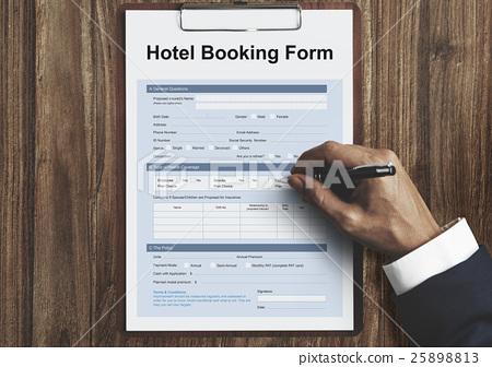 图库照片: hotel booking reservation form concept