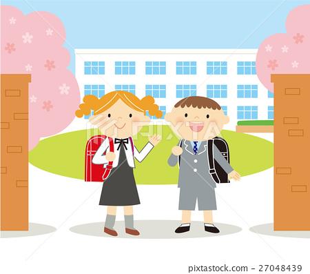 图库插图: 新生 小学一年级学生 小学图片