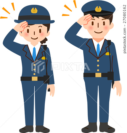 图库插图 警察 敬礼 男人和女人