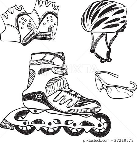 图库插图: roller skating equipment