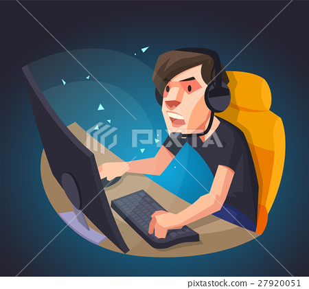 a man play the computer game vector illustration.