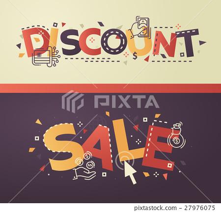 图库插图: modern flat design discount, sale lettering with图片