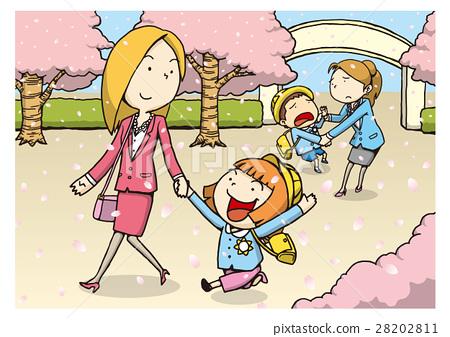 图库插图: 矢量 幼儿园入园仪式 父母身份