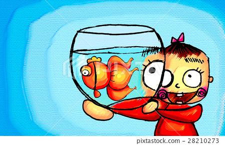图库插图: 金鱼 儿童 孩子