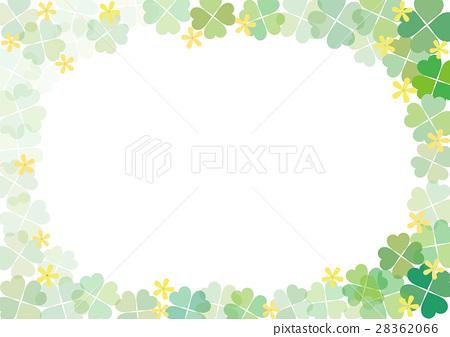 图库插图: 四叶草 嫩叶 框架