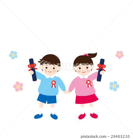 图库插图: 幼儿园儿童 读完幼儿园 幼儿园毕业
