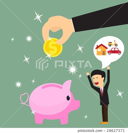 图库插图: saving money with businessman happy.