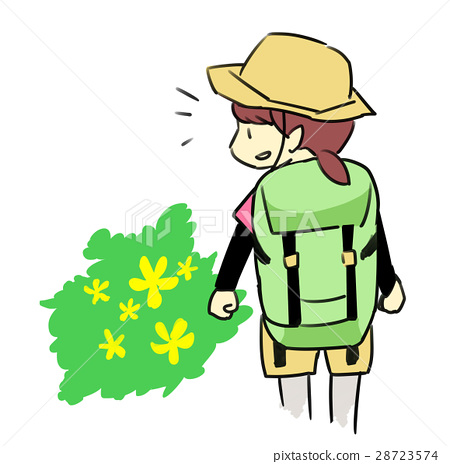 图库插图: 爬山 山野女孩 登山者