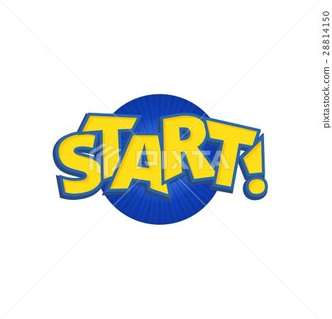 图库插图: start phrases written in a cartoon game