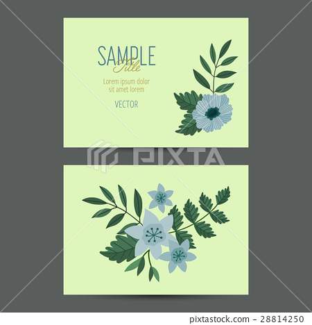 插图素材: cute invitation template with flower decoration