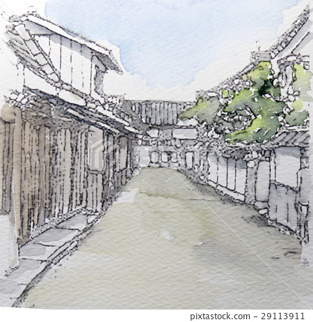插图 背景_小物 风格 和风 场景 日式 街道  *pixta限定素材仅在pixta