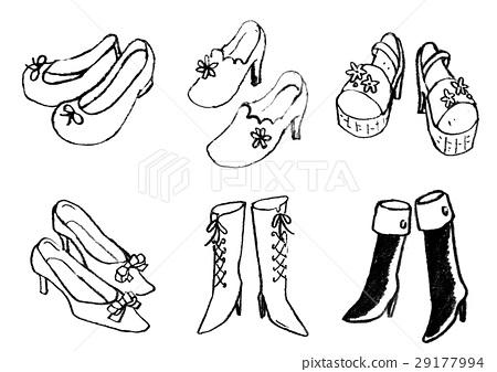 背景_小物 风格 黑白 鞋 鞋子 女士  *pixta限定素材仅在pixta网站,或
