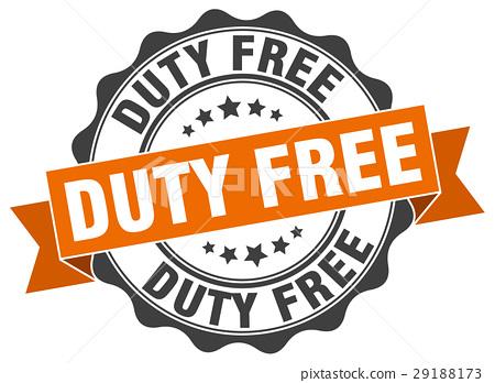 图库插图: duty free stamp. sign. seal