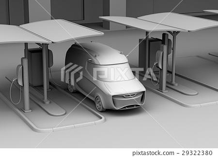 图库插图: 电动汽车 一辆环保汽车 充电器
