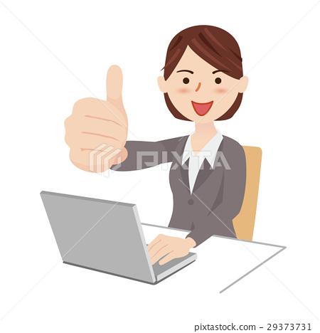 插图素材: 女商人书桌工作