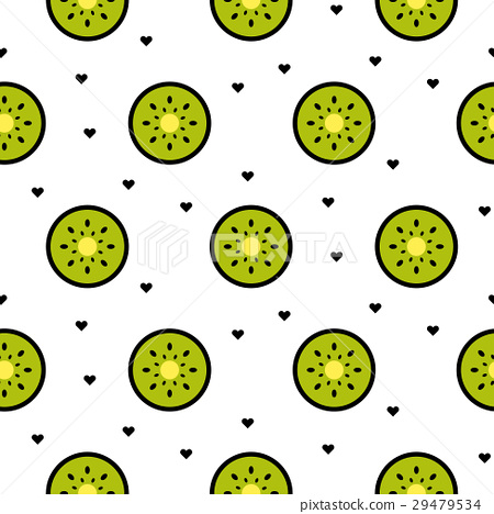 图库插图: kiwi fruit slices seamless green pattern on white.