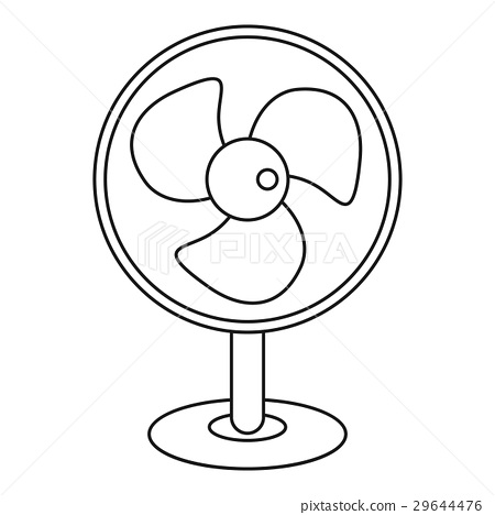 图库插图: electric table fan icon, outline style
