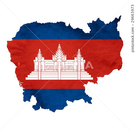 图库插图: 柬埔寨 地图 国旗