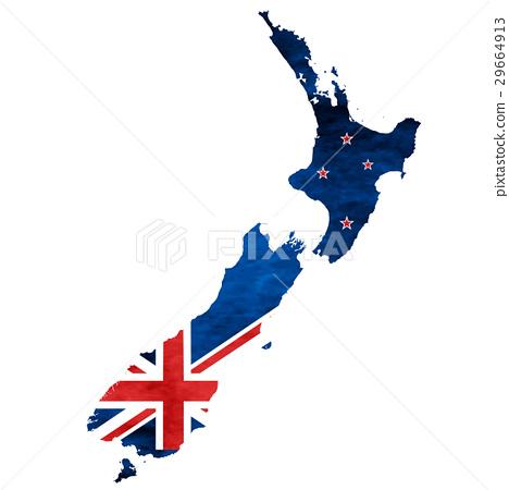 图库插图: 新西兰 地图 国旗