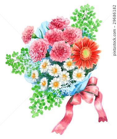 图库插图: 母亲节 康乃馨 礼物