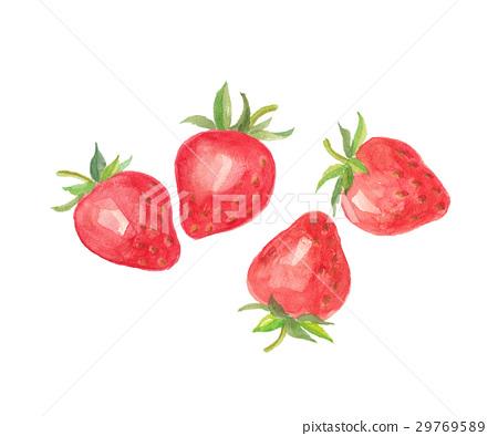 图库插图: 草莓 水彩 水彩画图片