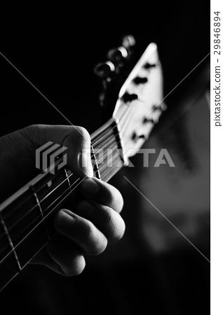 图库照片: 黑白 单色 吉他