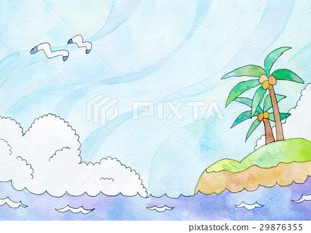 图库插图: 水彩画 海洋 海