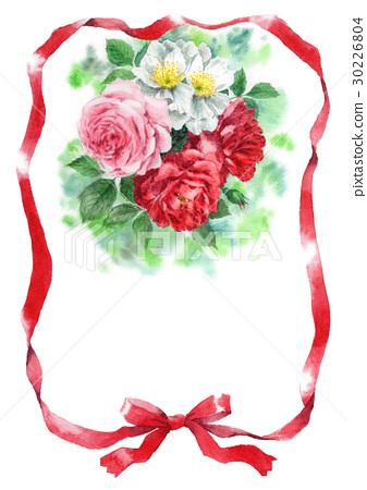 图库插图: 玫瑰 玫瑰花 彩带