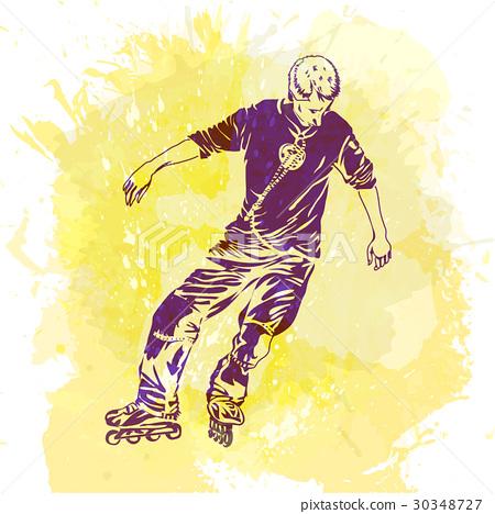 图库插图: roller skating.grunge trend handcraftedbackground.
