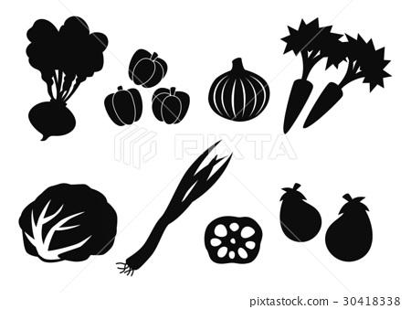 插图素材: 食物剪影(蔬菜)
