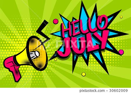 图库插图: hello july comic text pop art colored bubble