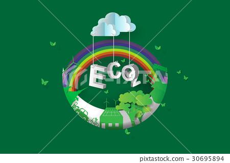 图库插图: eco green city design,crescent moon,3d图片