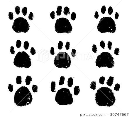 插图 脸部_身体 身体_身体部分 手指 足迹 脚印 狗  *pixta限定素材仅