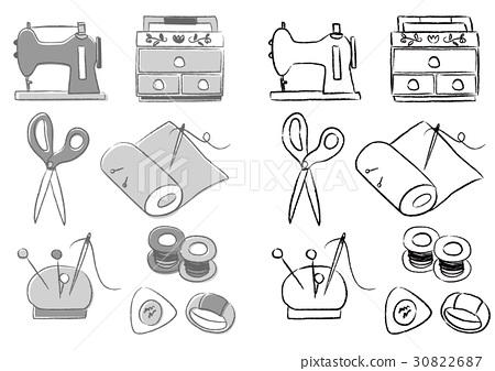图库插图: 针线包 单色 黑白