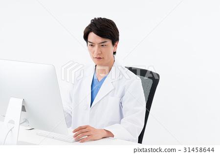 图库照片: 医生 博士 个人电脑