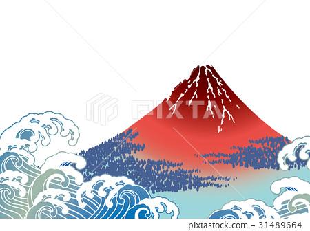 图库插图: 日本画 富士山 矢量