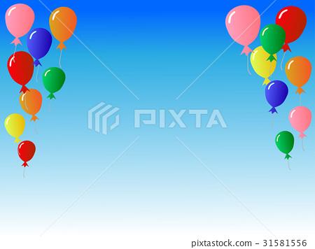 插图素材: 气球和蓝天背景