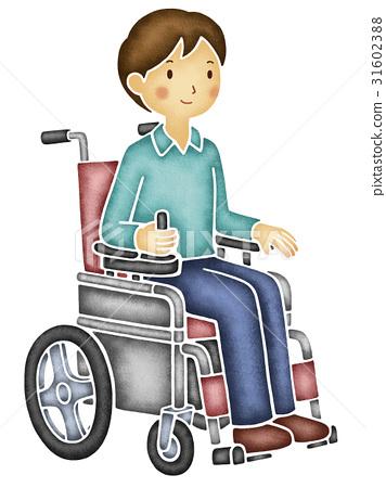 图库插图: 轮椅 残疾人 残疾人士