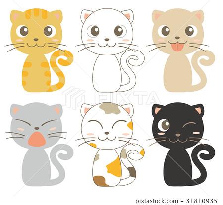 脸部,脸部部分 舌头 插图 矢量 猫 猫咪 首页 插图 脸部_身体 脸部