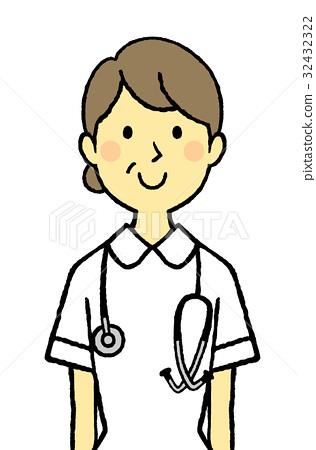 插图素材: 护士中年听诊器