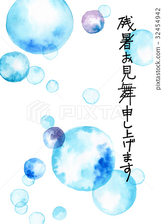图库插图: 手绘 水彩画 夏末的贺卡