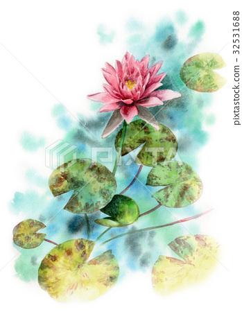 图库插图: 莲花 水彩画 花朵