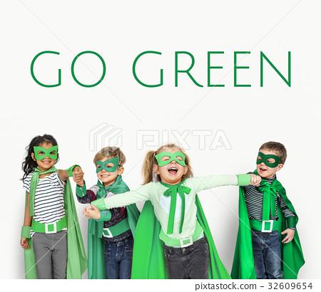 图库照片: go green responsibility nature environment word