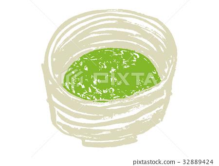 插图素材: 抹茶茶道水彩画