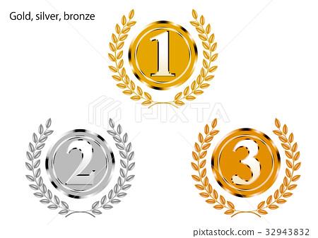 图库插图: 金属质感金牌,银牌,铜牌金牌