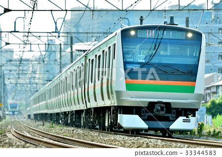 图库照片: 东海道本线 藤泽 通勤列车